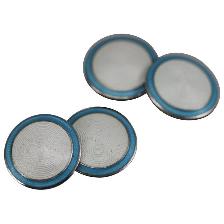 Art Deco Blue/White Enamel Cufflinks Sterling Silver, circa 1920 For Sale