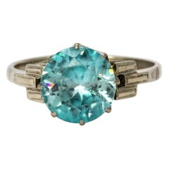 Art Deco Blue Zircon 18 Karat White Gold Solitaire Ring