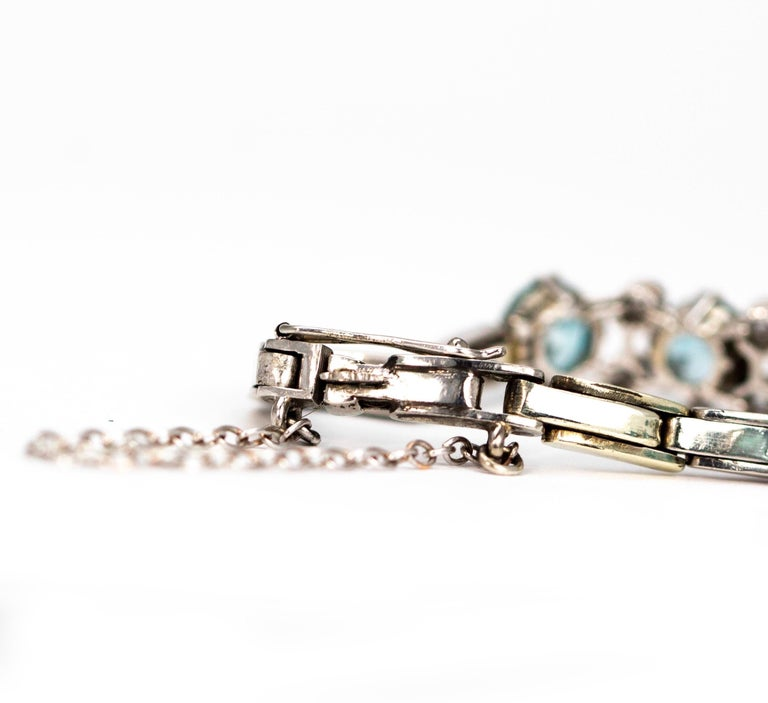 Art Deco Blue Zircon and Diamond Platinum Bracelet In Excellent Condition For Sale In Chipping Campden, GB