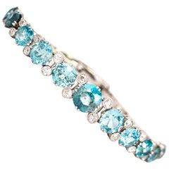 Art Deco Blue Zircon and Diamond Platinum Bracelet