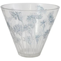 Art Deco 'Bluets' Glass Vase by Rene Lalique