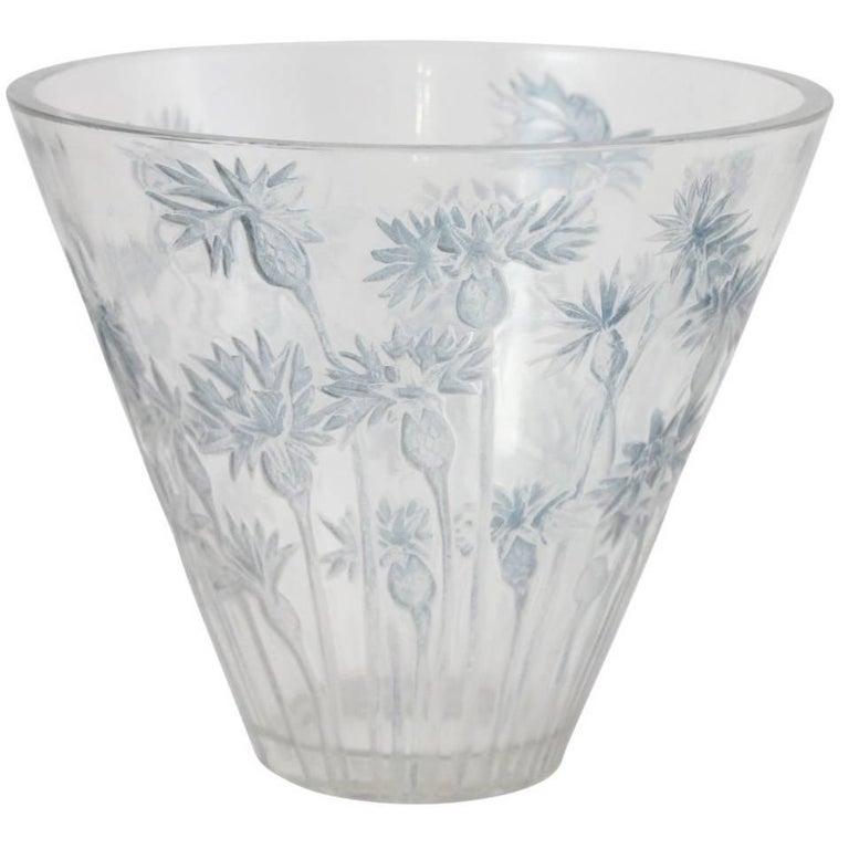 Art Deco 'Bluets' Glass Vase by Rene Lalique