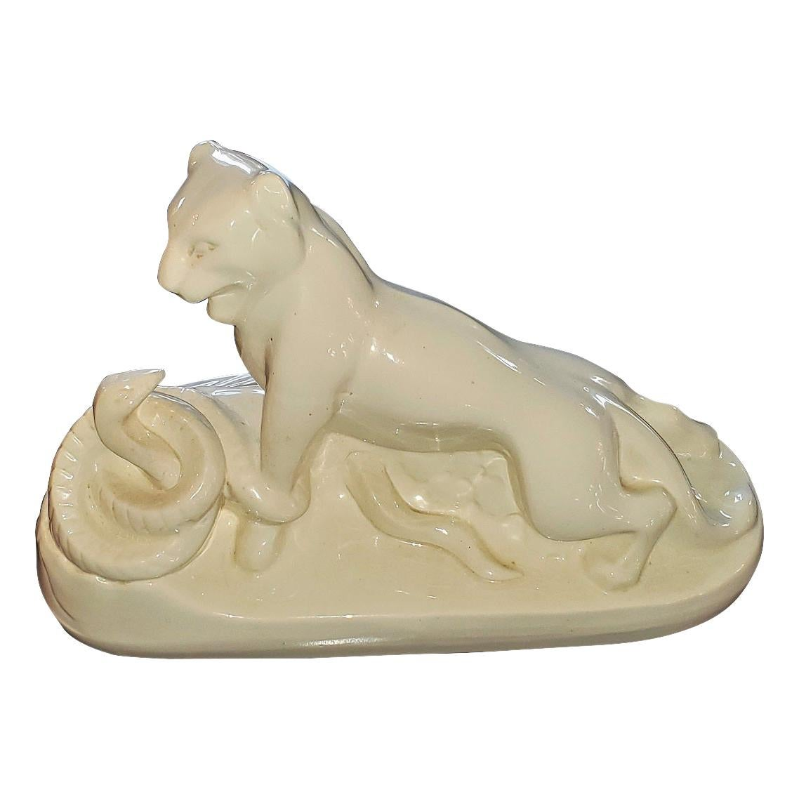 Art Deco Boch Freres by Charles Catteau Porcelain Panther and Snake