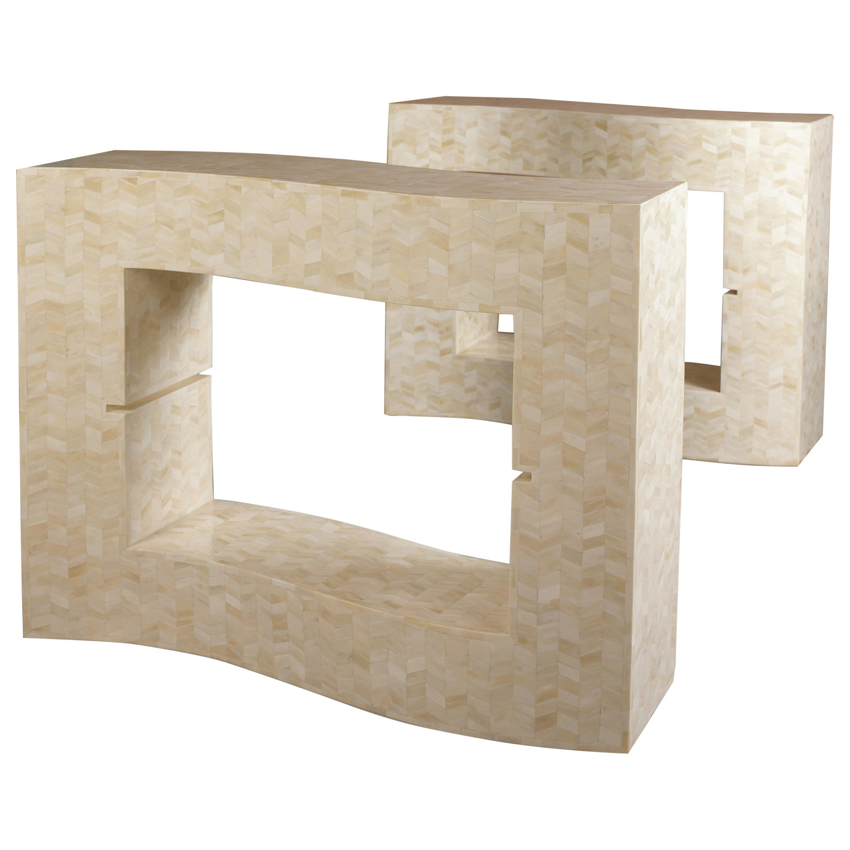 Art Deco Bone Tessellated Dining Table Base