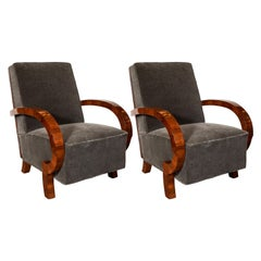 """Art Deco Book Matched Burled Walnut """"Halabala"""" Chairs in Smoked Pewter Mohair"""