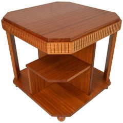 Art Deco Bookcase-Table in Solid Mahogany Blond by Michel Dufet, 1930s
