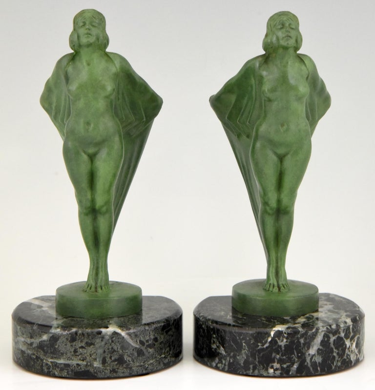 French Art Deco Bookends Nude with Cape Max Le Verrier France, 1930