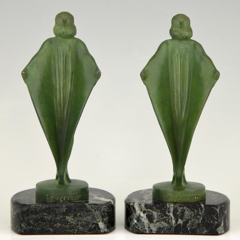 Mid-20th Century Art Deco Bookends Nude with Cape Max Le Verrier France, 1930