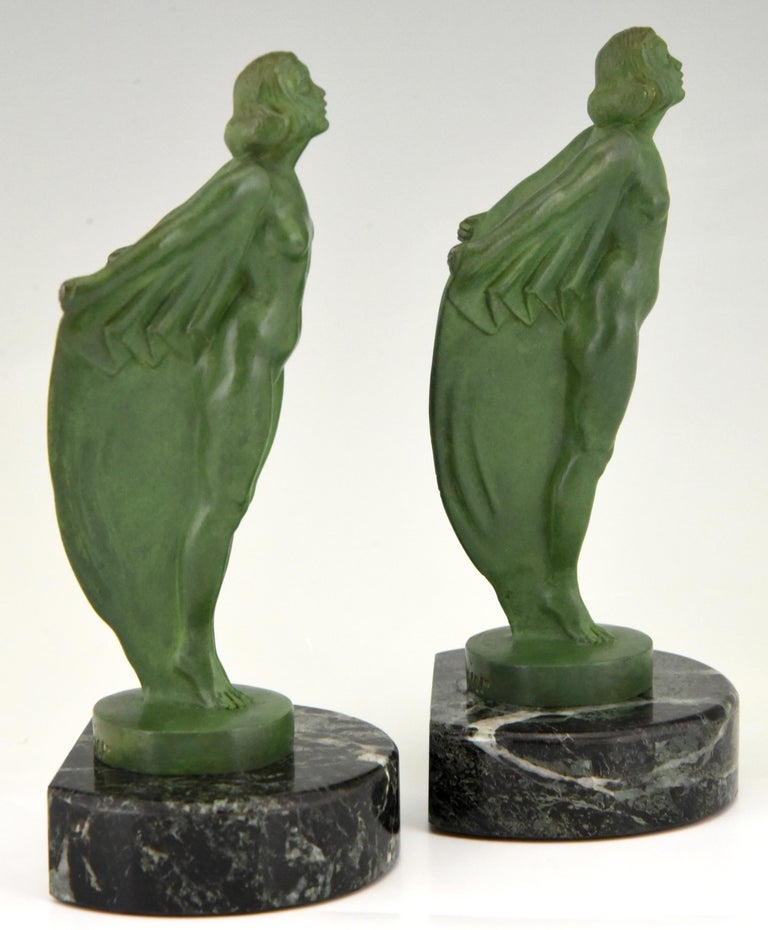 Art Deco Bookends Nude with Cape Max Le Verrier France, 1930 2