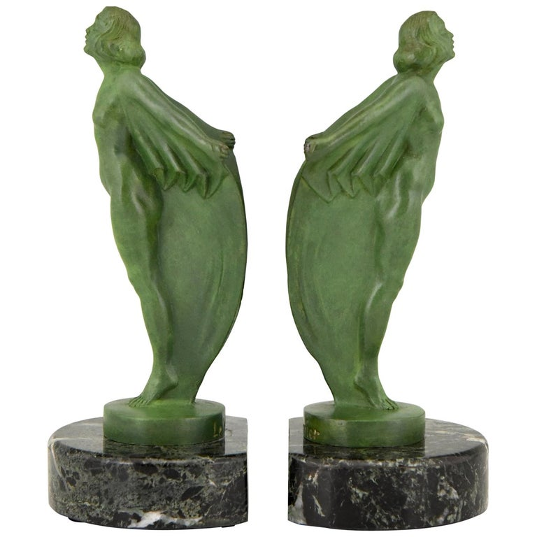 Art Deco Bookends Nude with Cape Max Le Verrier France, 1930