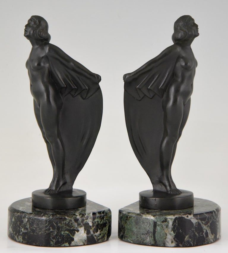 French Art Deco Bookends Nude with Drape, Max Le Verrier, France, 1930 For Sale