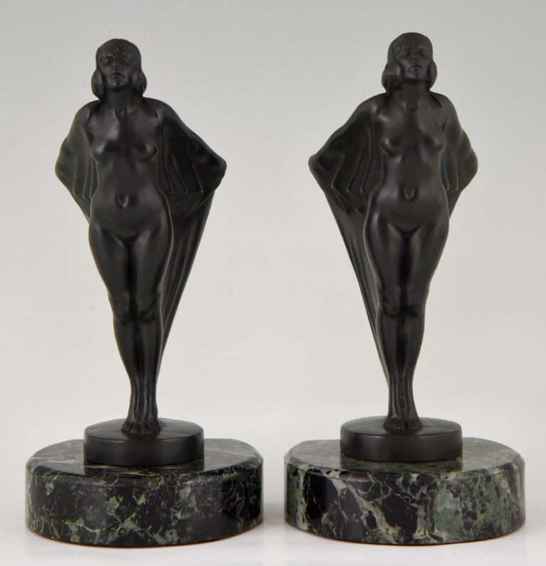 Patinated Art Deco Bookends Nude with Drape, Max Le Verrier, France, 1930 For Sale