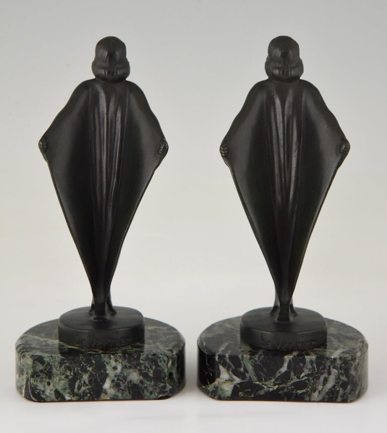 20th Century Art Deco Bookends Nude with Drape, Max Le Verrier, France, 1930 For Sale