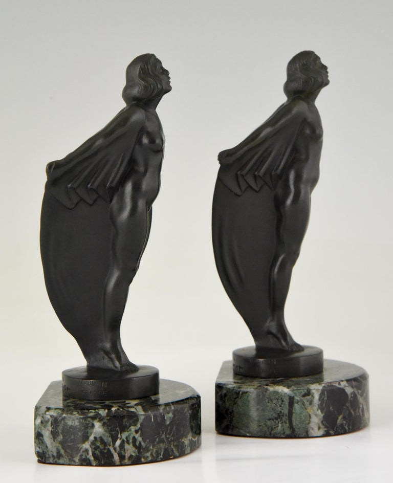 Metal Art Deco Bookends Nude with Drape, Max Le Verrier, France, 1930 For Sale
