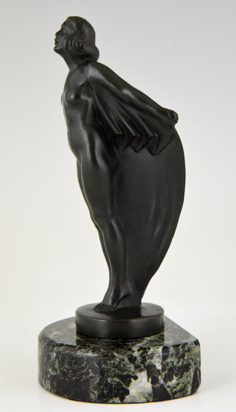 Art Deco Bookends Nude with Drape, Max Le Verrier, France, 1930 For Sale 1