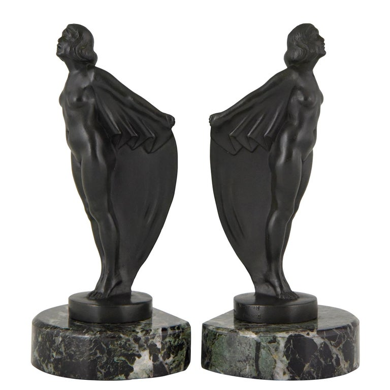 Art Deco Bookends Nude with Drape, Max Le Verrier, France, 1930 For Sale
