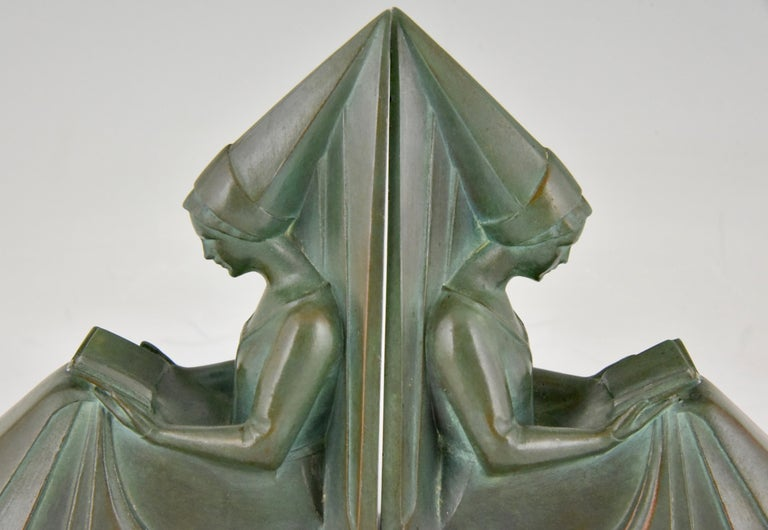 Art Deco Bookends Reading Medieval Ladies Max Le Verrier, France, 1930 For Sale 1