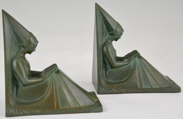 Art Deco Bookends Reading Medieval Ladies Max Le Verrier, France, 1930 For Sale 2