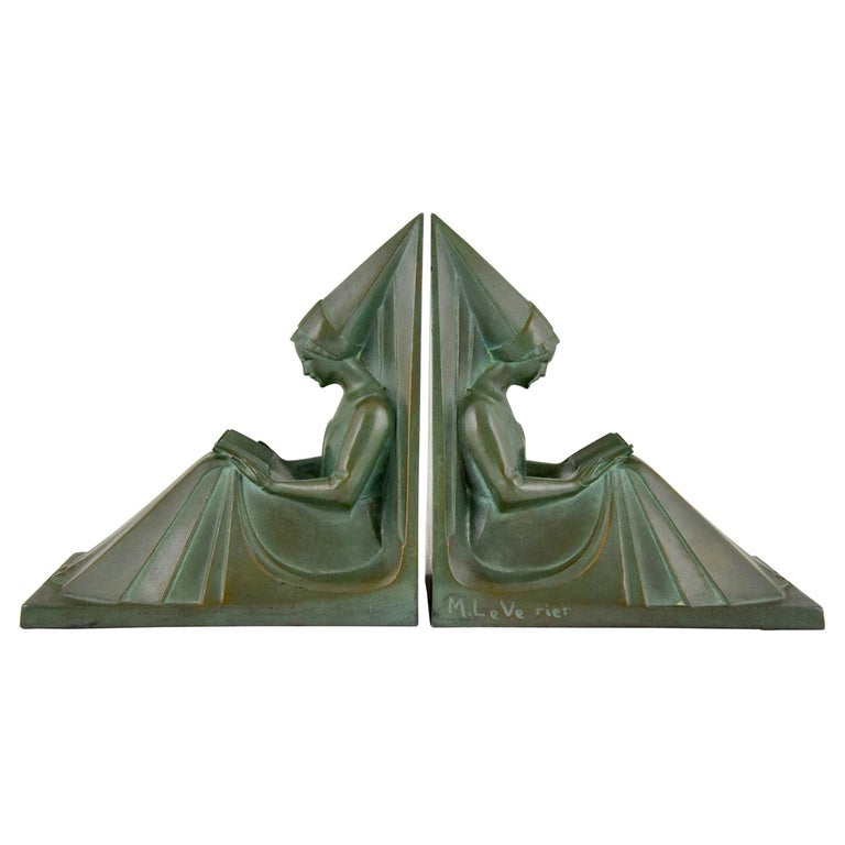 Art Deco Bookends Reading Medieval Ladies Max Le Verrier, France, 1930 For Sale
