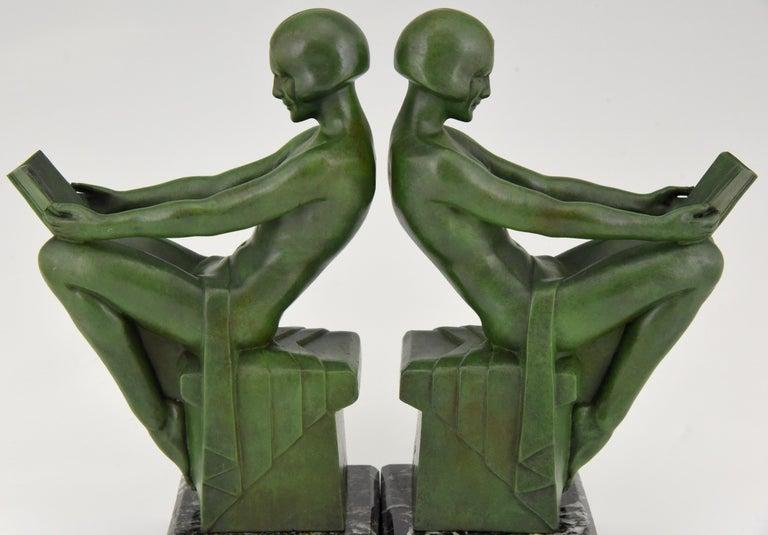 Art Deco Bookends Reading Nudes Delassement Max Le Verrier, France, 1930 3