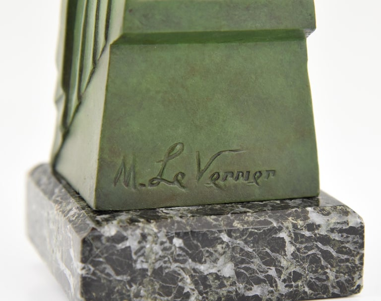 Art Deco Bookends Reading Nudes Delassement Max Le Verrier, France, 1930 4