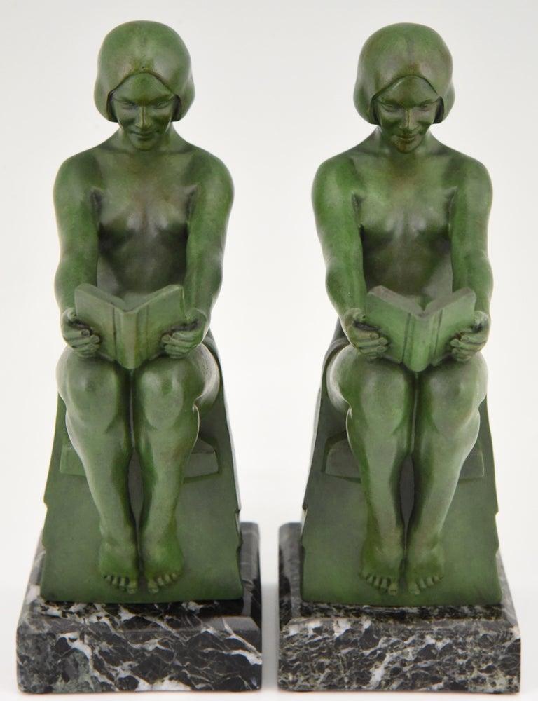 French Art Deco Bookends Reading Nudes Delassement Max Le Verrier, France, 1930