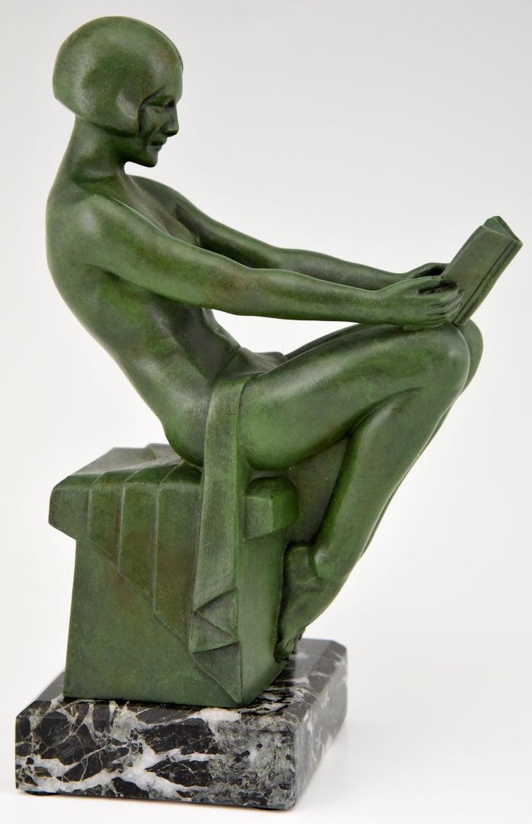 Mid-20th Century Art Deco Bookends Reading Nudes Delassement Max Le Verrier, France, 1930