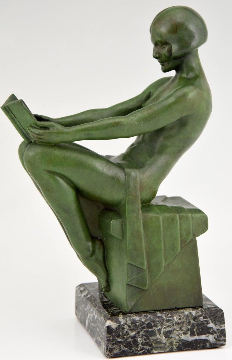 Metal Art Deco Bookends Reading Nudes Delassement Max Le Verrier, France, 1930