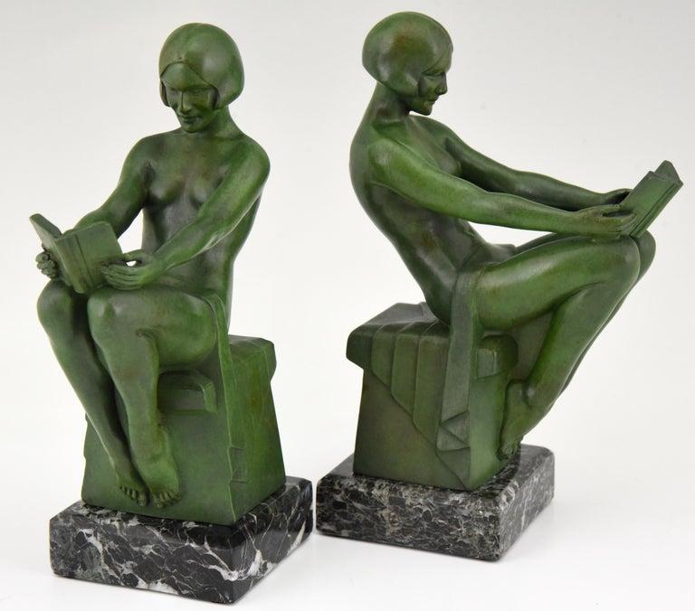 Art Deco Bookends Reading Nudes Delassement Max Le Verrier, France, 1930 1