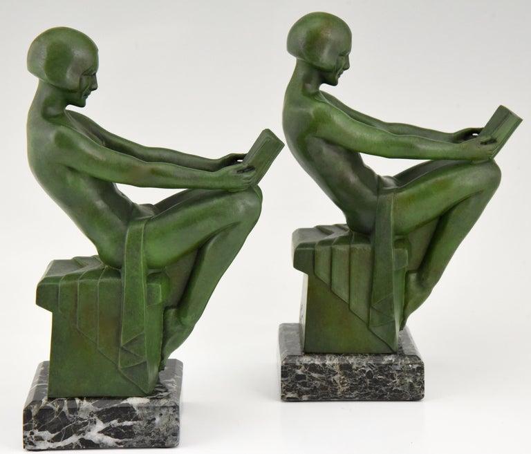Art Deco Bookends Reading Nudes Delassement Max Le Verrier, France, 1930 2