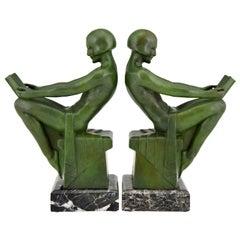 Art Deco Bookends Reading Nudes Delassement Max Le Verrier, France, 1930