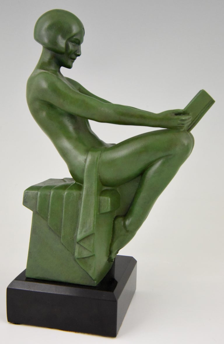 Belgian Black Marble Art Deco Bookends Reading Nudes Max Le Verrier France 1930 Art Meal Green Patina For Sale