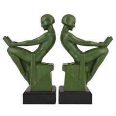 Art Deco Bookends Reading Nudes Max Le Verrier France 1930 Art Meal Green Patina