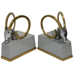 Art Deco Bookends with Brass Ibex Heads