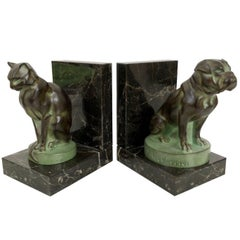 Art Deco Bookends, Chat et Dogue, Cat and Dog, Original Max Le Verrier