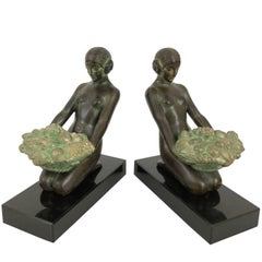 Art Deco Bookends, Cueillette, Original Max Le Verrier