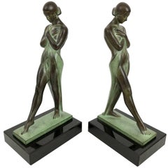 Art Deco Bookends, Meditation by Fayral, Original Max Le Verrier