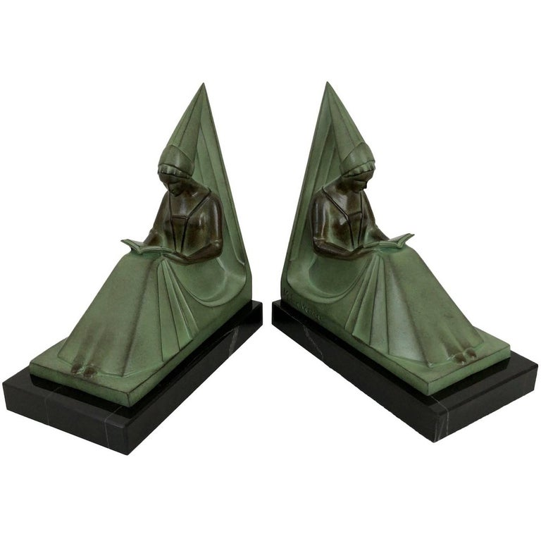 Art Deco Bookends, Moyen Age, Original Max Le Verrier