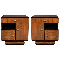 Art Deco Bookmatched Exotic Walnut, Burled Elm & Black Lacquer Cubist End Tables