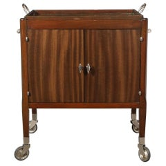 Art Deco Bookmatched Walnut Bar Cart with Nickeled Details & Removable Tray
