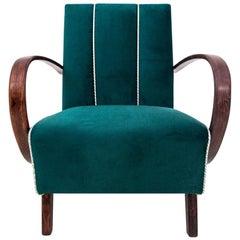 Art Deco Bottle Green Armchair by J. Halabala