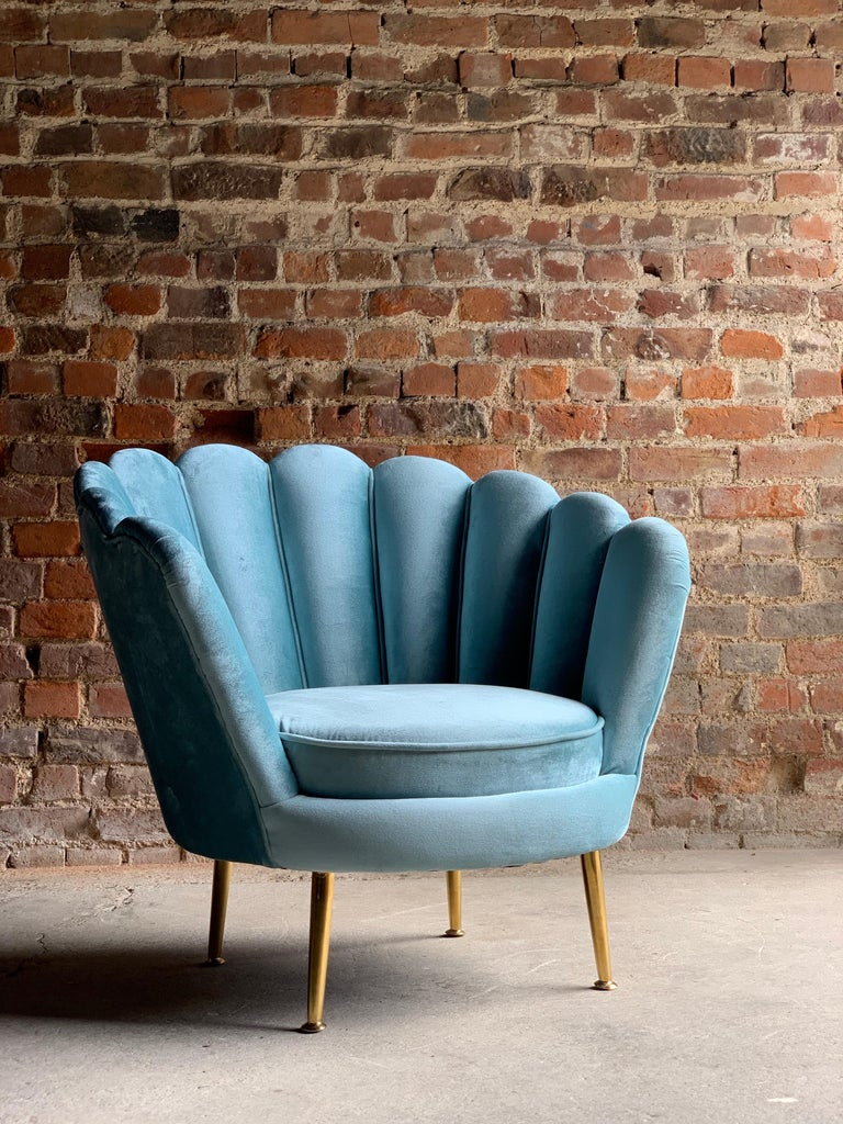 Art Deco Boudoir shell chair in turquoise velvet 1920s style.