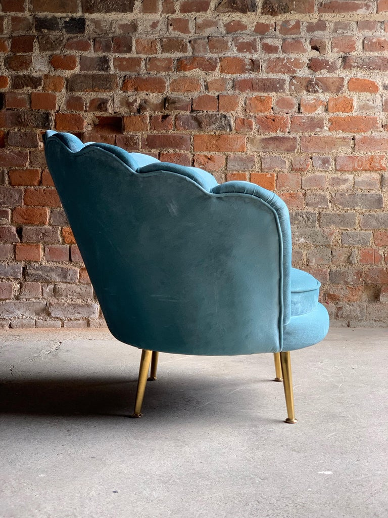 British Art Deco Boudoir Cocktail Chair in Turquoise Velvet 1920s Style For Sale
