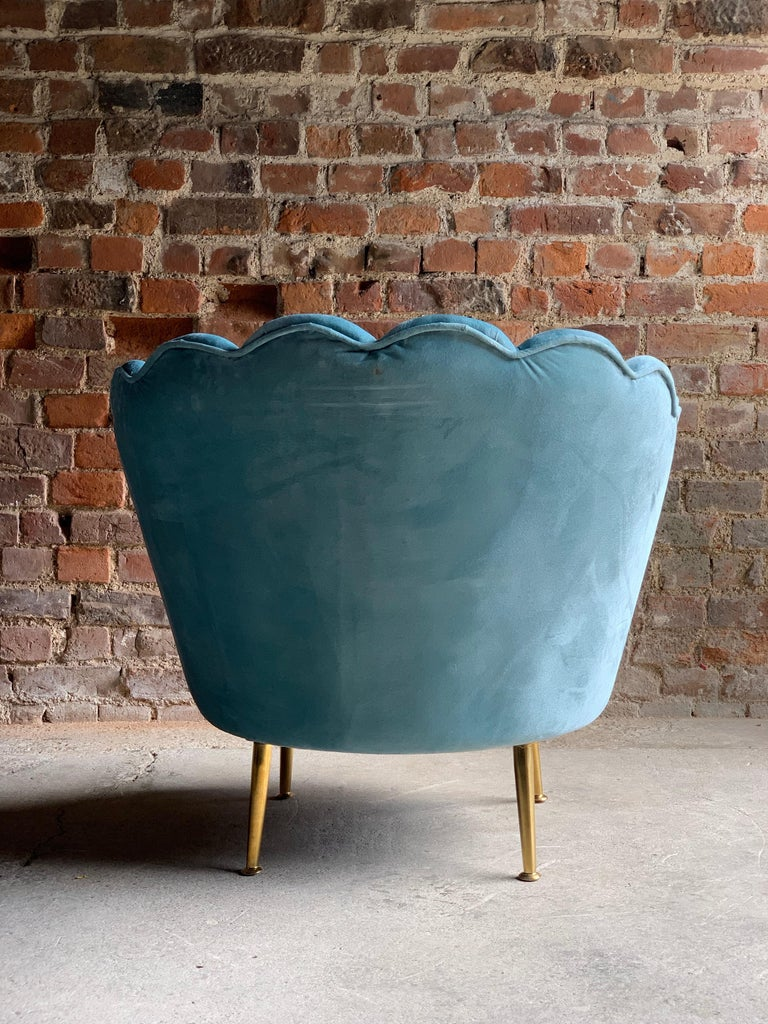 Art Deco Boudoir Cocktail Chair in Turquoise Velvet 1920s Style In Good Condition For Sale In Longdon, Tewkesbury