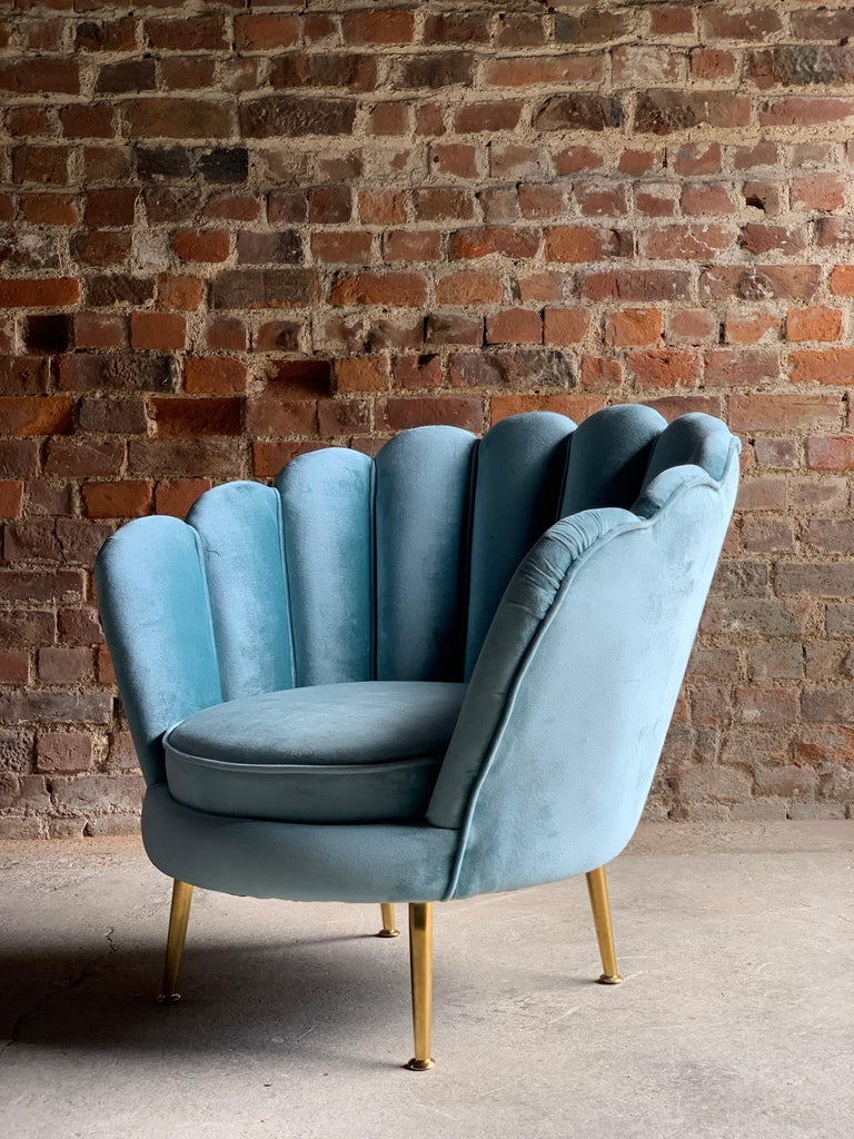 Contemporary Art Deco Boudoir Cocktail Chair in Turquoise Velvet 1920s Style For Sale