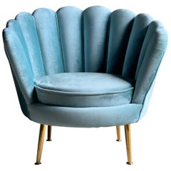 Art Deco Boudoir Cocktail Chair in Turquoise Velvet 1920s Style