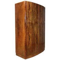 Art Deco Bow Fronted Walnut Two-Door Wardrobe