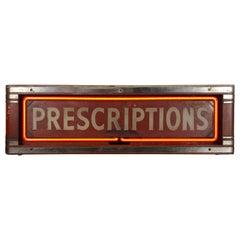 """Art Deco Box Neon Sign, """"PRECRIPTIONS'' Red Neon Drug Store Sign"""
