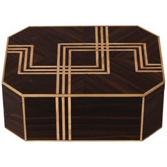 Art Deco Box with Ebony Veneer, with Inlays in Bronze and Springwood