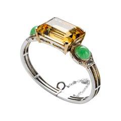 Art Deco Bracelet Citrine & Jade Certified Untreated